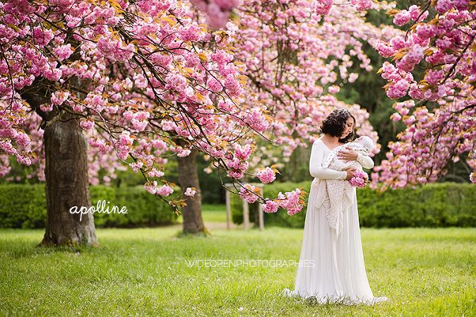 seance-bebe-cerisiers nouveau ne exterieur printemps fleurs